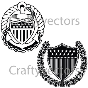 Coast Guard Officer Badge Vector File