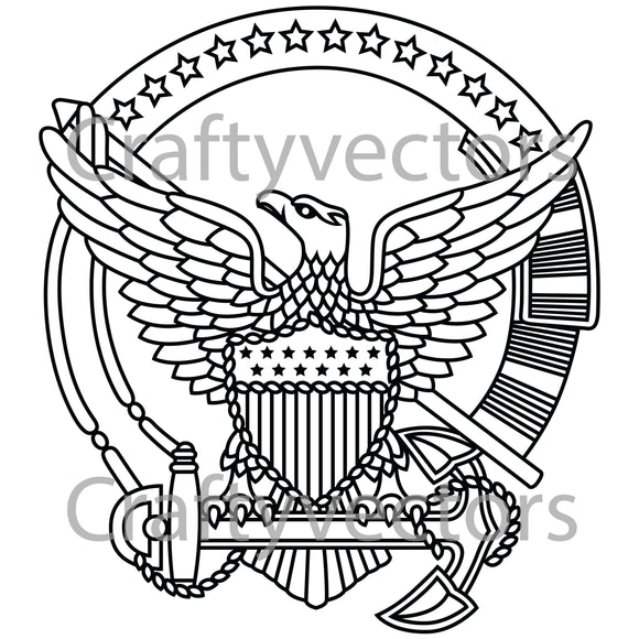 Coast Guard Command Afloat Badge Vector File