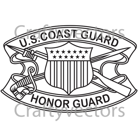 Coast Guard Honor Guard Badge Vector File