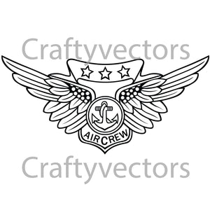 Navy Combat Air Crew Badge Vector File