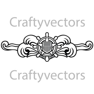 Coast Guard Cutterman Badge Vector File