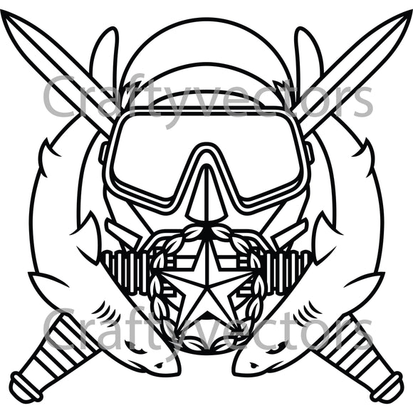 Army Special Operation Diving Supervisor Badge Vector File