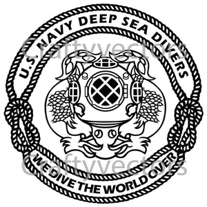 Navy First Class Divers Badge Vector File
