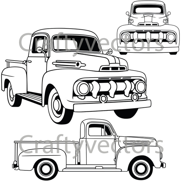 Ford F1 Truck 1951 Vector