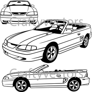 Ford Mustang 1994 GT Convertible Vector
