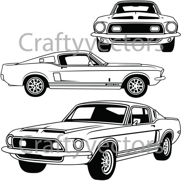 Ford Mustang 1967 - 1968 GT500  Vector