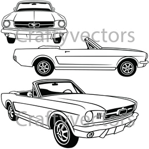 Ford Mustang 1964 - 1966 Convertible Vector