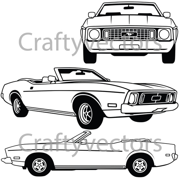 Ford Mustang 1973 Convertible Vector