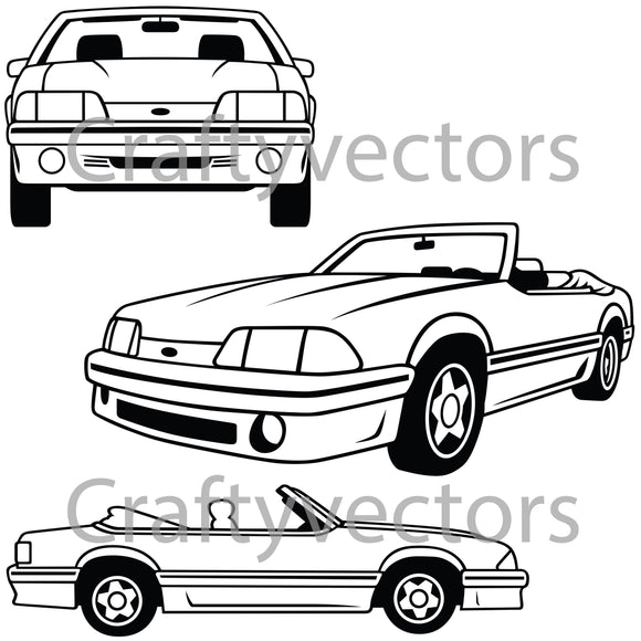 Ford Mustang 1987 Foxbody Convertible Vector