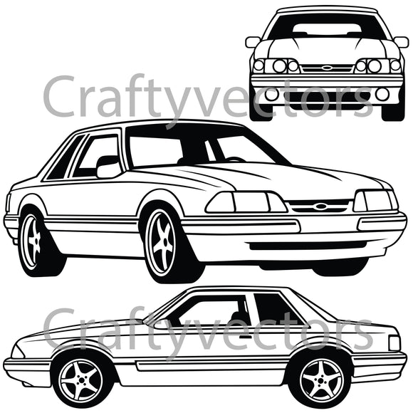 Ford Mustang 1989 Notchback Vector