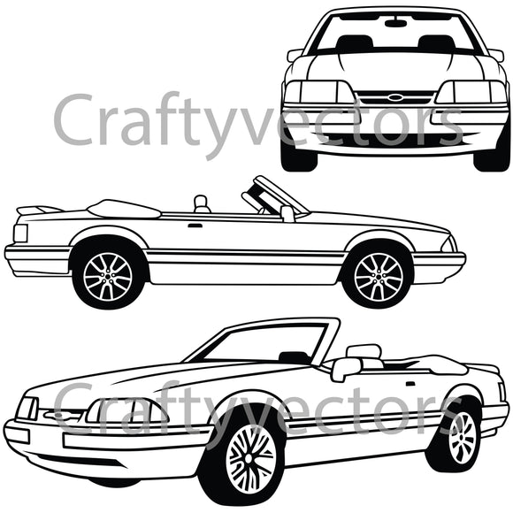 Ford Mustang 1993 LX Convertible Vector