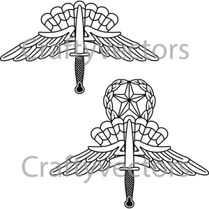 Freefall Parachutist Badge Vector File