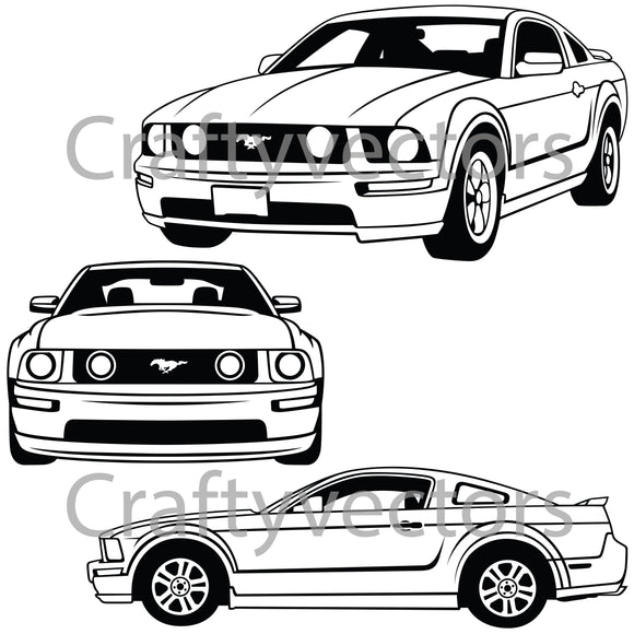 Ford Mustang 2005 to 2009 5th Generation Vector