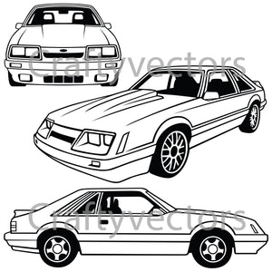 Ford Mustang 1986 Hatchback Vector
