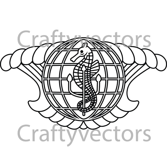 Navy Integrated Undersea Surveillance System Insignia Vector File