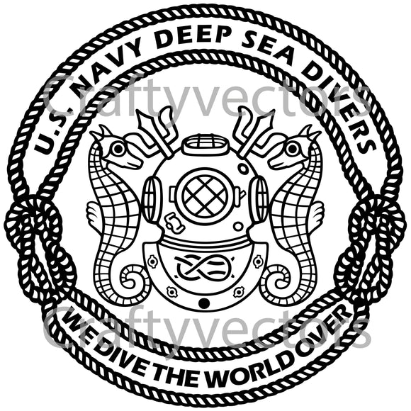 Navy Masters Divers Badge Vector File