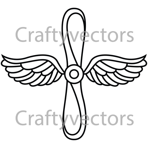 Navy Prop and Wings Badge Vector File