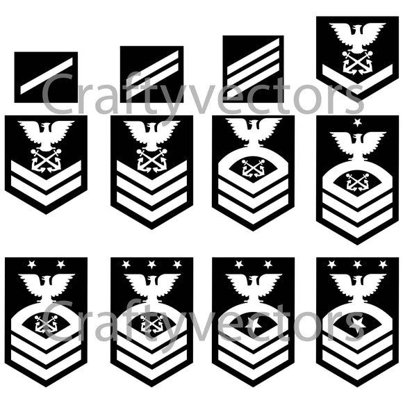 Navy Enlisted Ranks Vector File