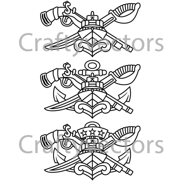 Navy SWCC Special Warfare Combatant Crew Badge Vector File