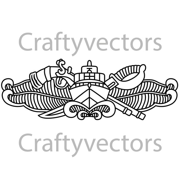 Navy Special Operations Boatman Badge Vector File
