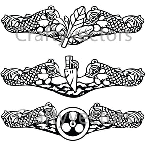 Navy Submarine Badge Vector File
