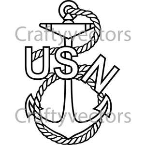 Navy Traditional Anchor Badge Vector File