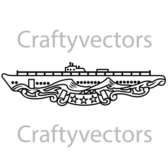 Navy WWII Submarine Patrol Badge Vector File