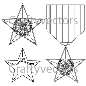 Silver Star Medal Vector File
