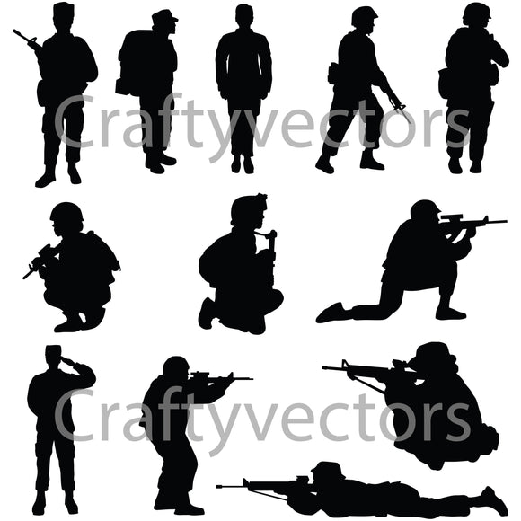 Army Soldiers Female Vector File