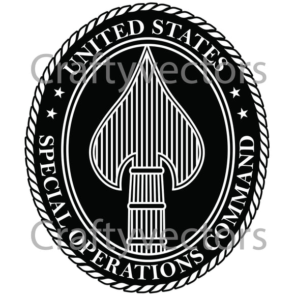 Army Special Opps Command Badge Vector File