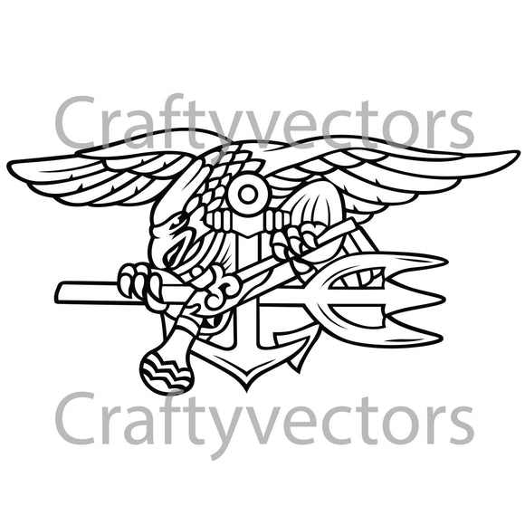 Navy Seal Special Warfare SEAL Badge Vector File
