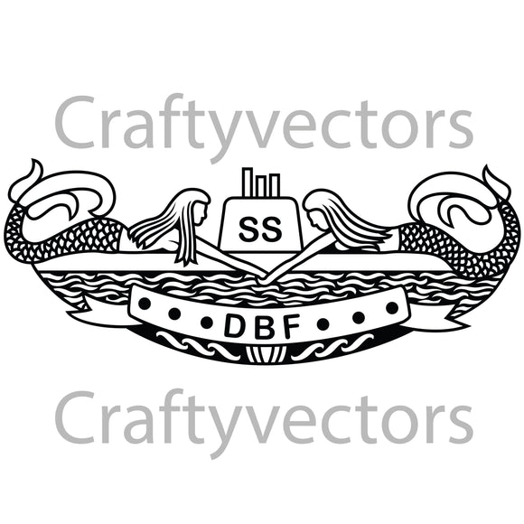 Navy Submarine Diesel Boats Forever Badge Vector File