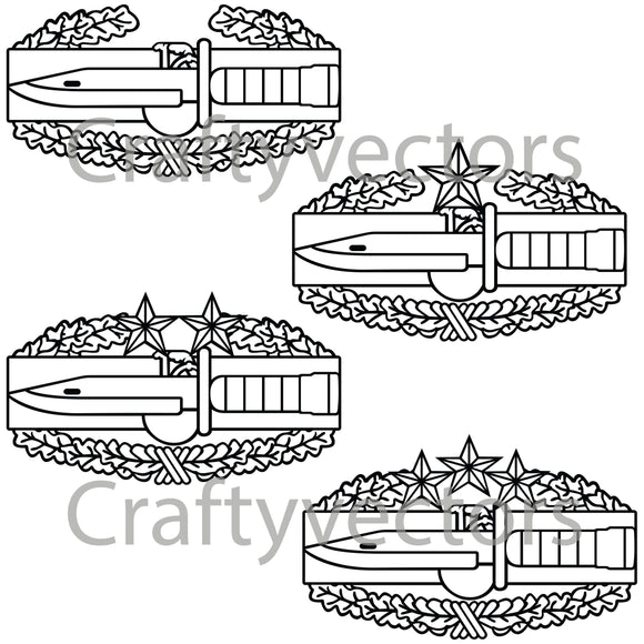 Army Combat Action Badge Vector File