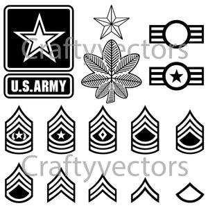Army Ranks and Badges Vector File