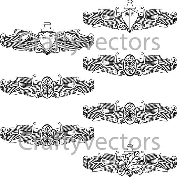 Navy Surface Warfare Insignia Badge Vector File