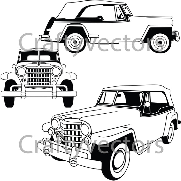 Willys Jeepster Vector