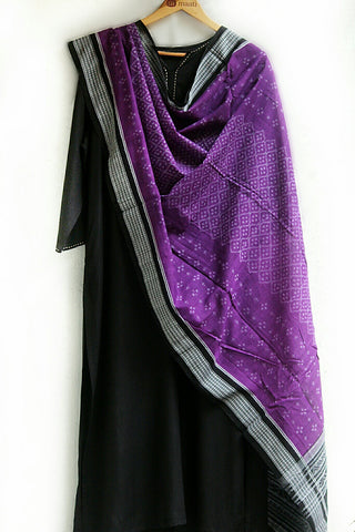 hand-woven cotton ikat dupatta - purple & black