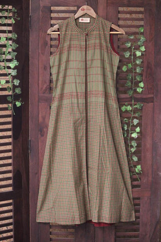 CHETTINAD COTTON JACKET - SLEEVELESS GREEN CHECKS