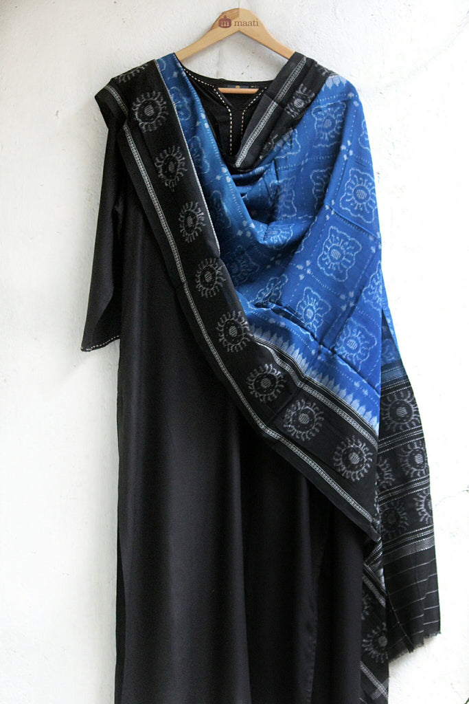 hand-woven cotton ikat dupatta - indigo butterfly & black