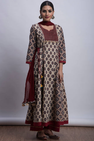 pintucked sufi anarkali - warm milk & cherry shine