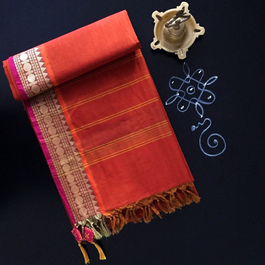 chettinad cotton saree: crimson-orange & kaasmani border