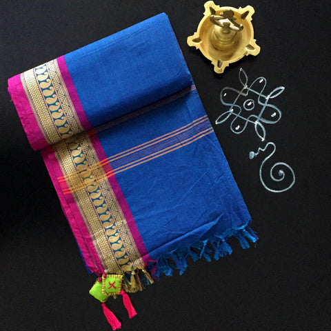 chettinad cotton saree: azure blue & pinstripe with pink maanga border