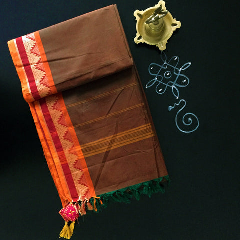 chettinad cotton saree: rama green & maroon cross colour with temple border
