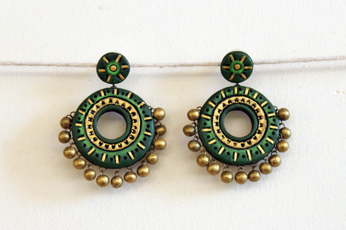jewelry - terracotta - polo stud deep green & gold beads