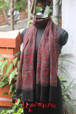 ajrakh kota stole - brown red & leaf buti
