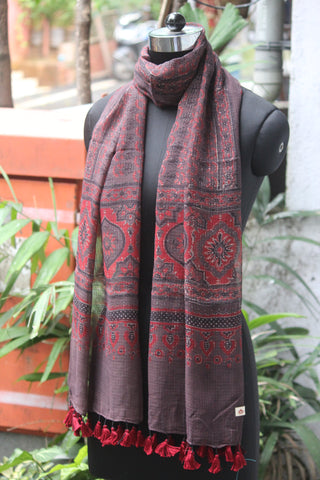 ajrakh kota stole - brown red & chatar buti