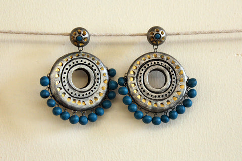 jewelry - terracotta - polo stud silver & turquoise beads