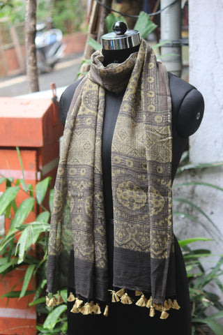 ajrakh kota stole - kashish grey & gold dust