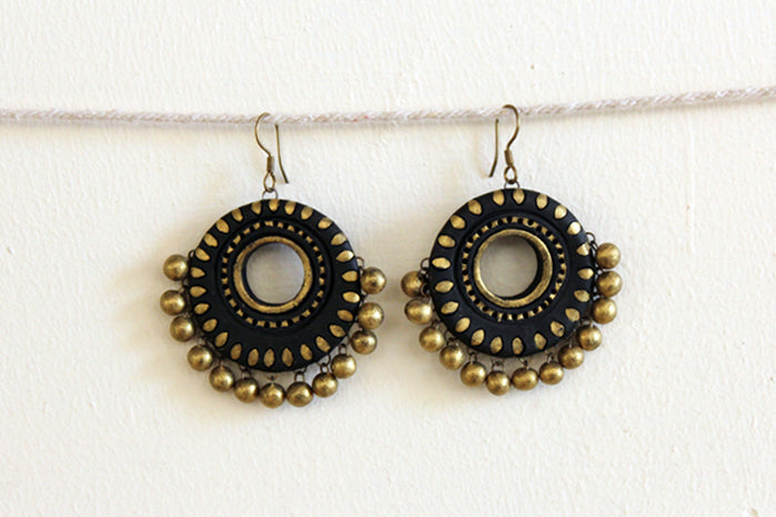 jewelry - terracotta - big polo black wheel & gold beads