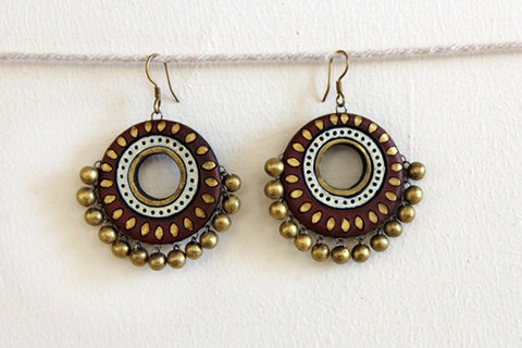 jewelry - terracotta - big polo brown wheel & gold beads